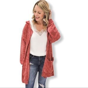 Chenille open front cardigan in rust